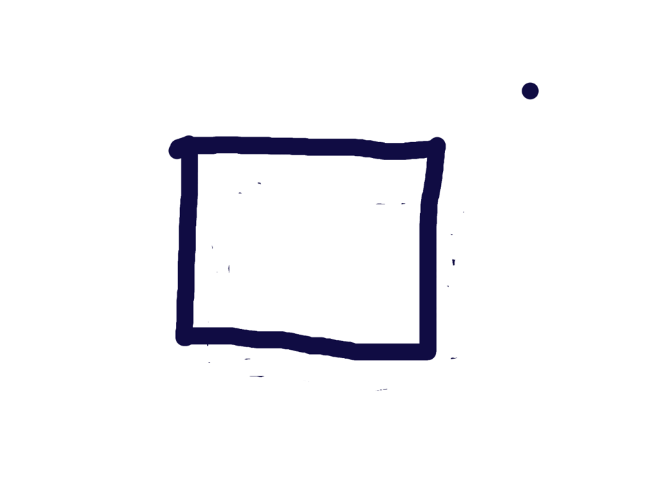 Screenshot of student's drawing. White background with black square and small dot outside and  to the top right of the square.
