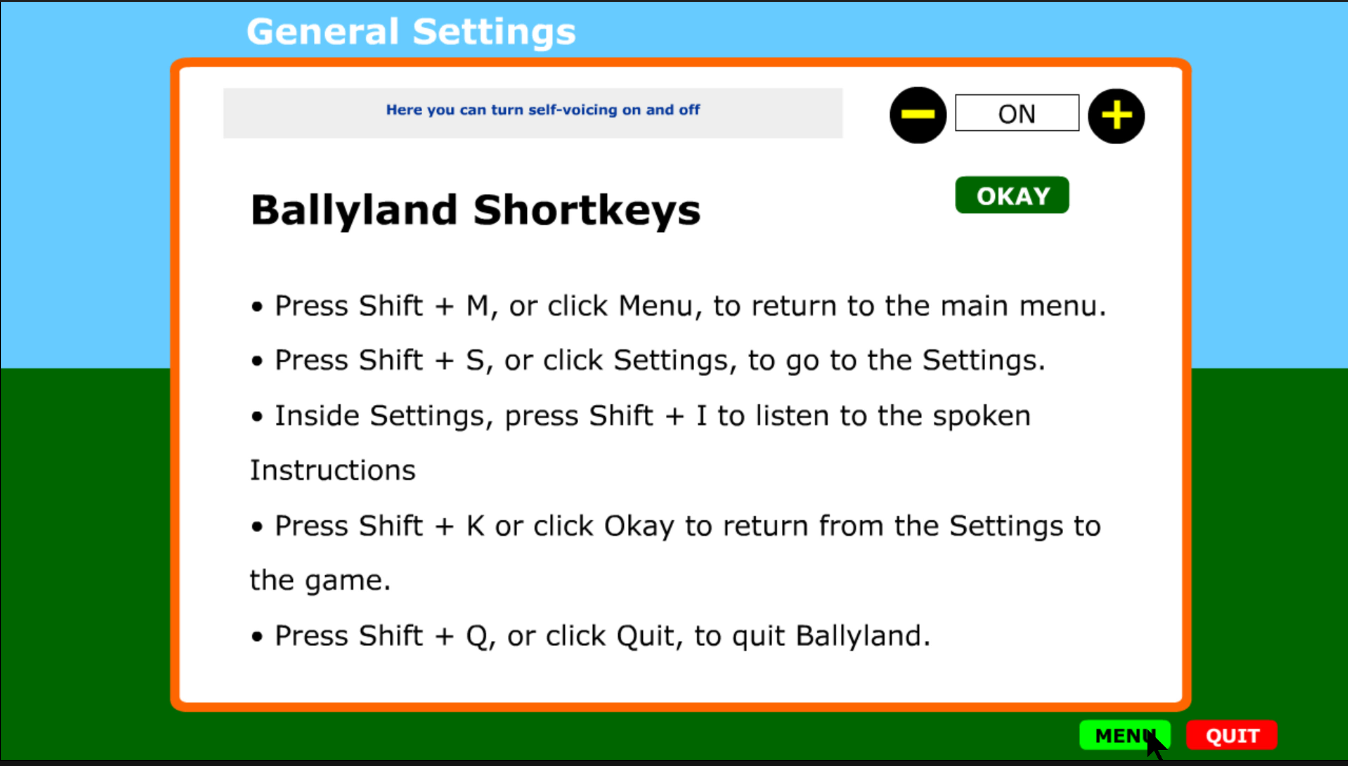 Screenshot of Ballyland Settings page listing the Shortcut keys