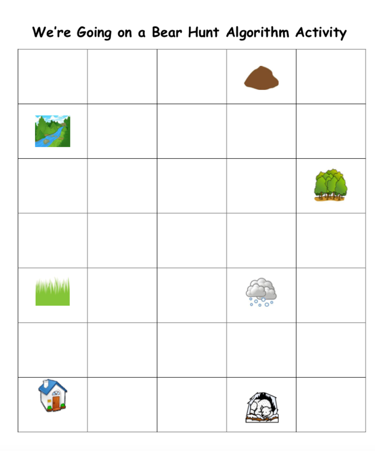 We're Going on a Bear Hunt grid with corresponding images