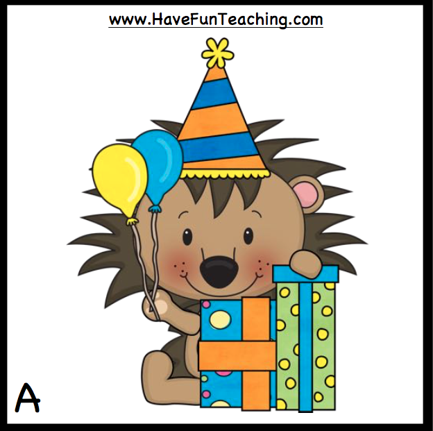 A smiling cartoon lion sitting by wrapped boxes, holding balloons and wearing a pointed party hat.