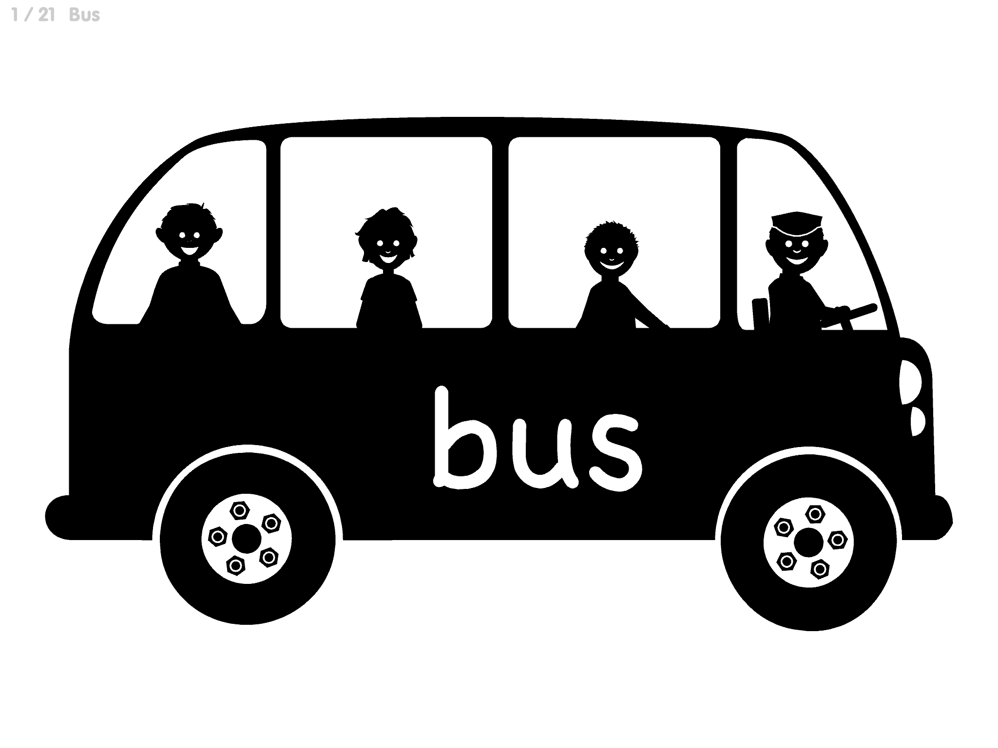 Silhoutte Bus: White background Black school bus with silhouette images of 4 people riding the bus with limited details.