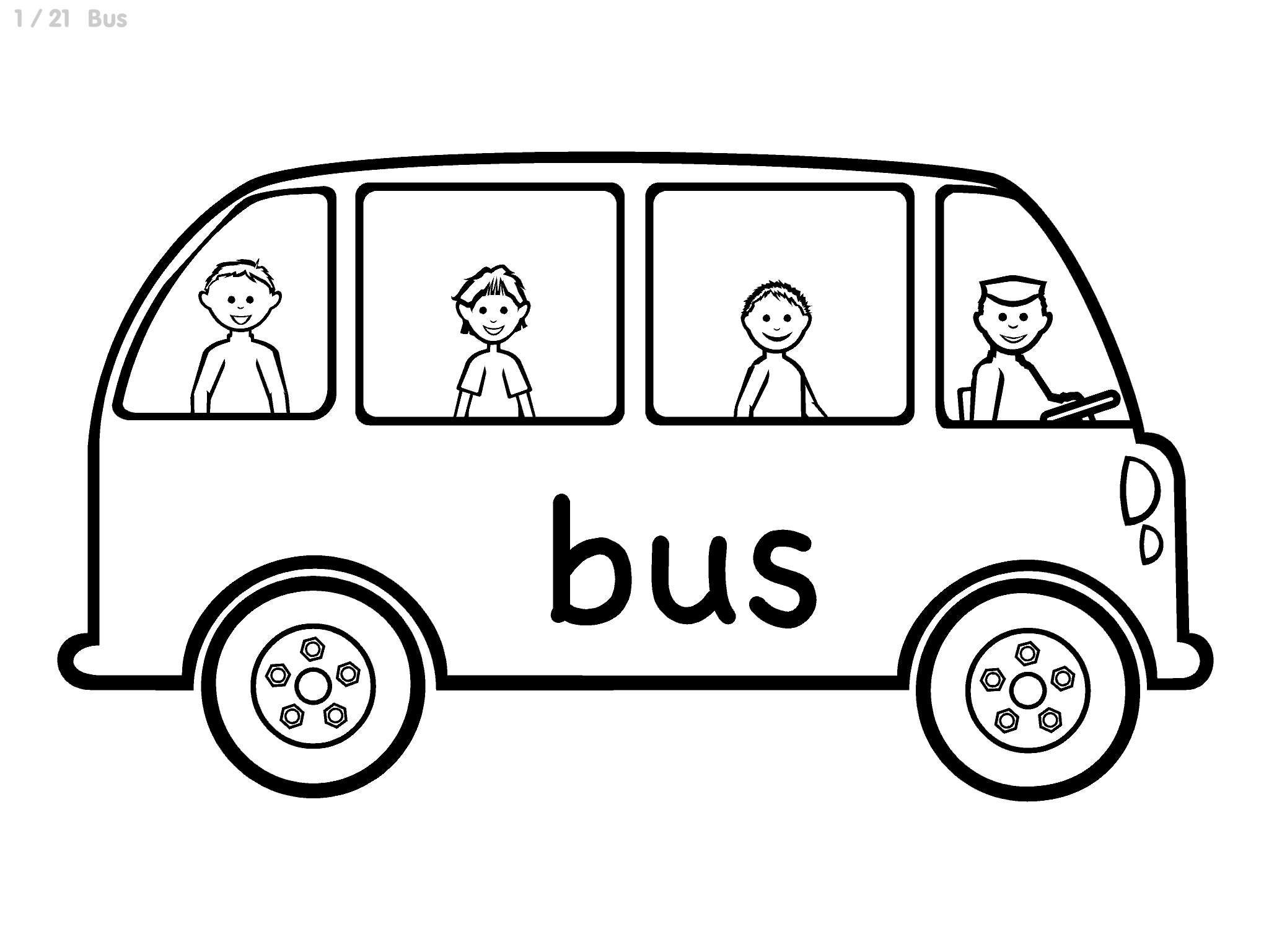Simple Line Art image of a bus: Same image as silhouette bus with white background, but bus and people are white with black outlines.