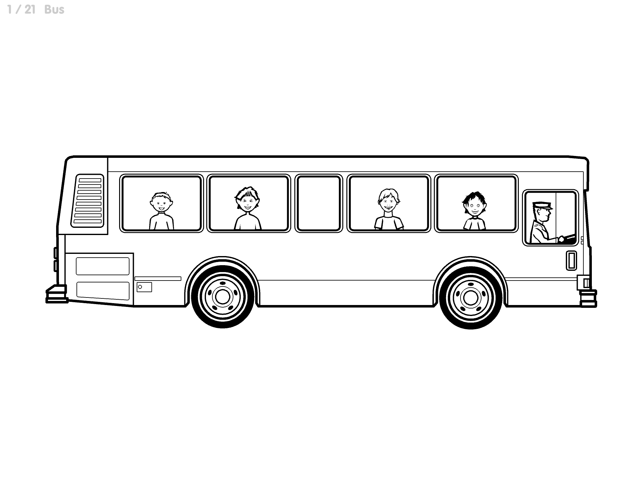 Complex Line Art bus image: White background with detailed city bus and people outlined in black. People have more detailed hair, clothes, and faces.