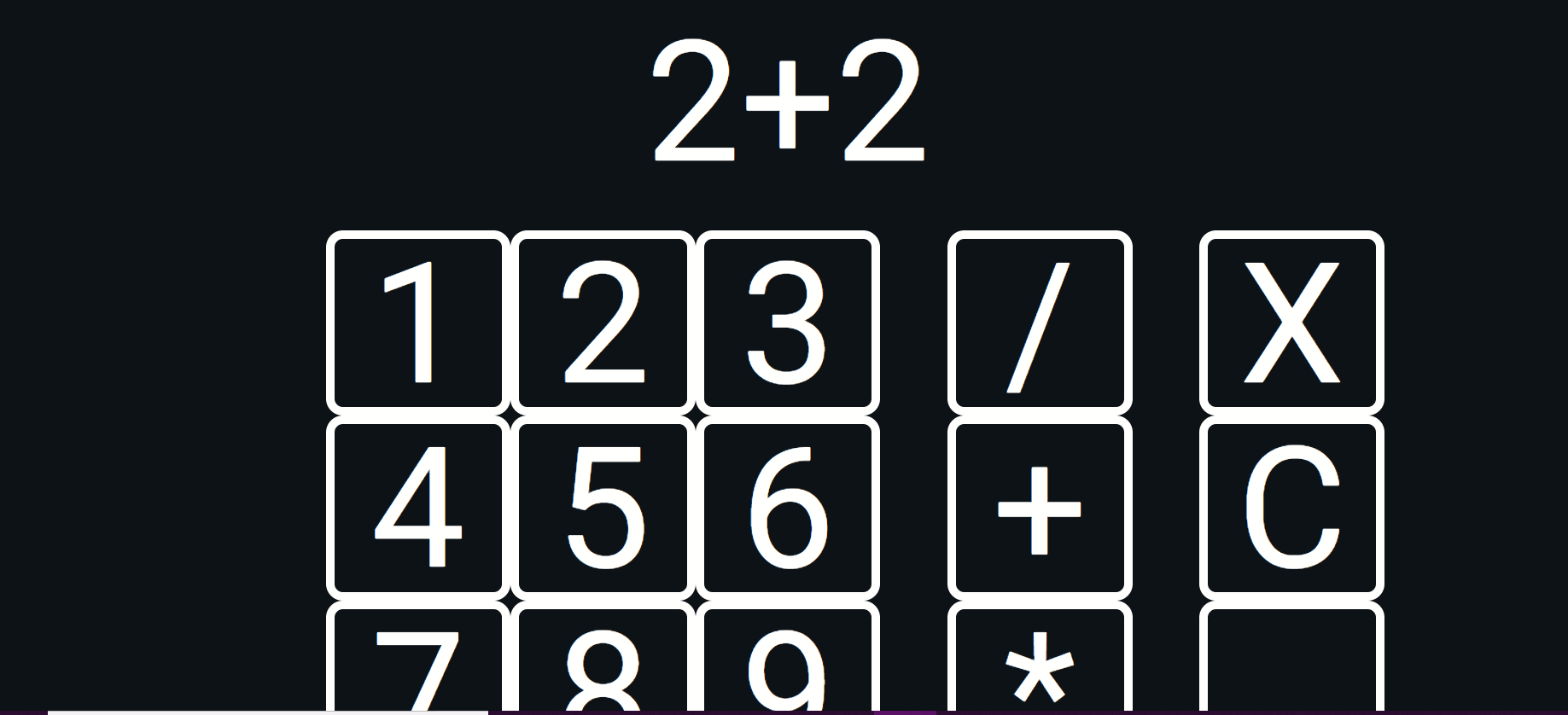 "Screenshot of Calculator with ""2+2"" at the top. The calculator is white lettering on black background with two separated columns for function symbols such as plus sign."