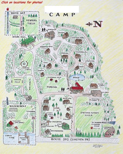 Drawing of summer camp; map includes cabins, buildings, campfire area, game fields and internal camp roads,