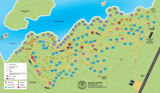 Map of campground displaying numbered campsites along twisty camp roads.