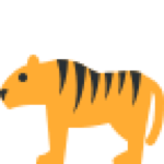 Yellow tiger with black stripes emoji