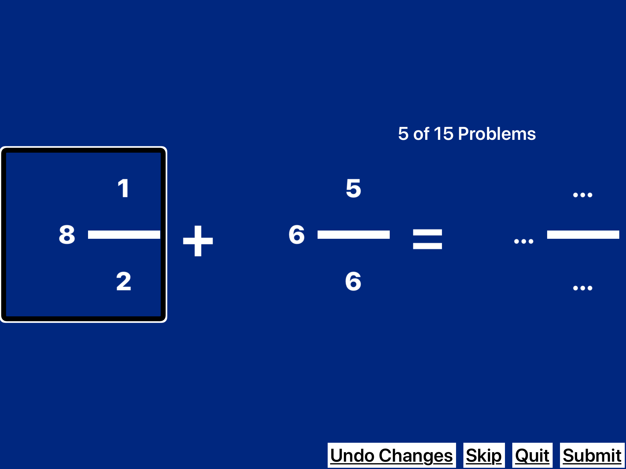 screenshot of Practice2Master Fractions app with equation 8 1/2 + 6 5/6 =