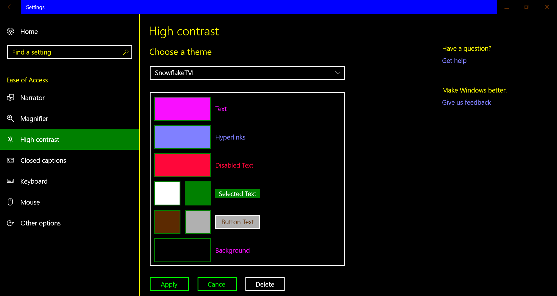 Screenshot of high contrast theme modified to my preferences and saved as SnowflakeTVI