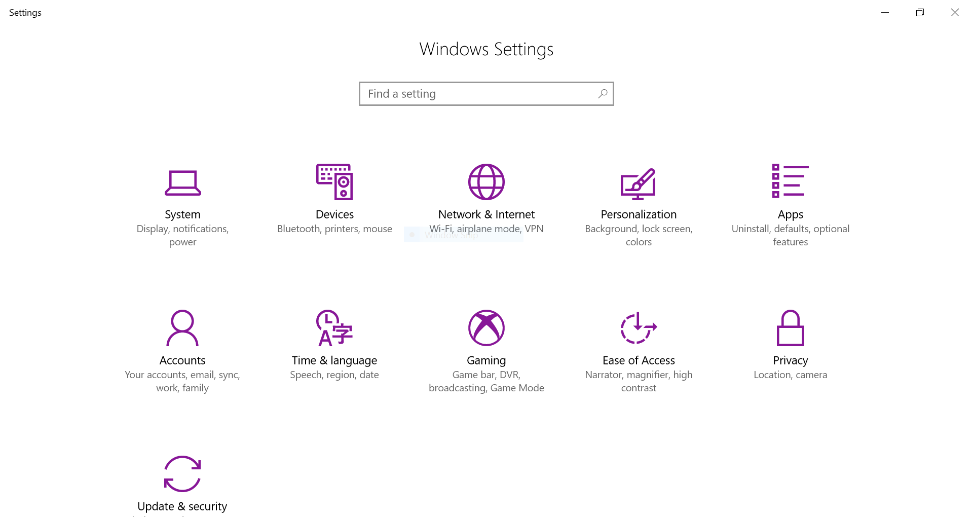 Screenshot of Windows Settings