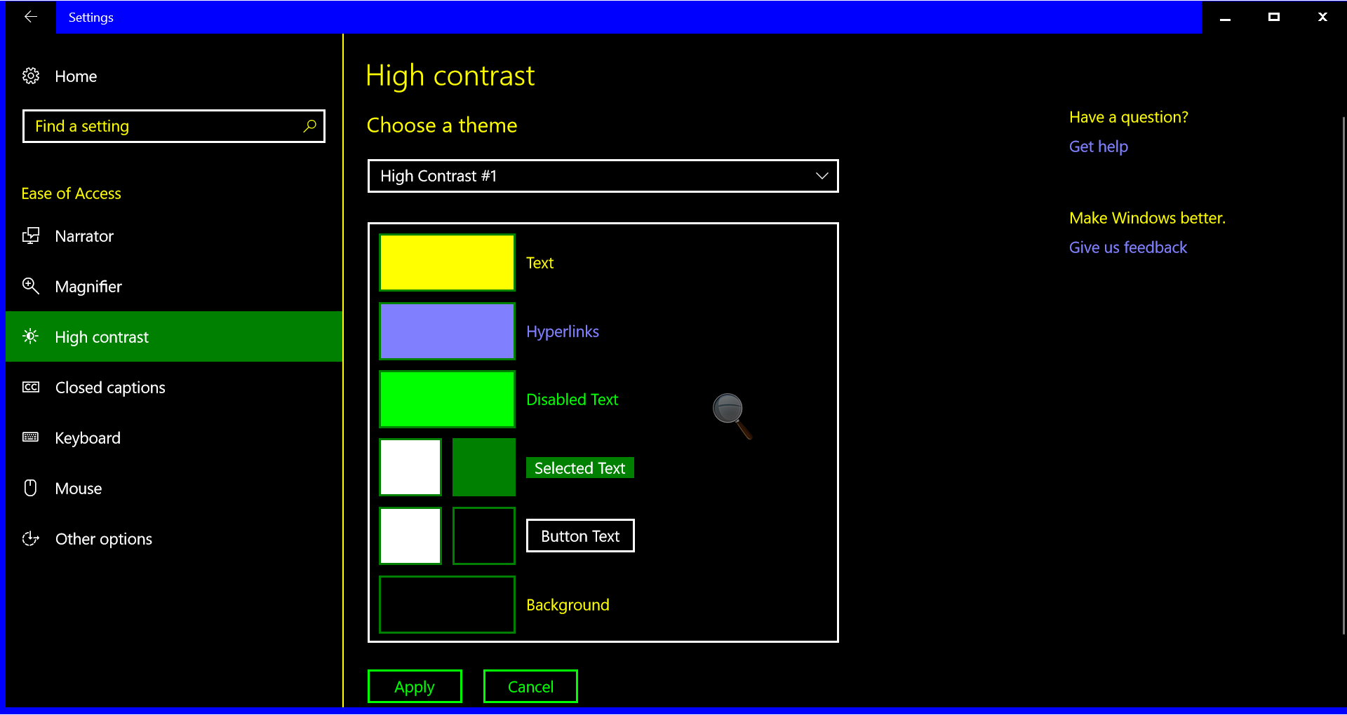 Screenshot of high contrast theme 1 in the settings app