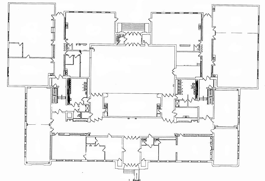 Photo of basic map - outlines of halls and rooms with all extra labels erased.