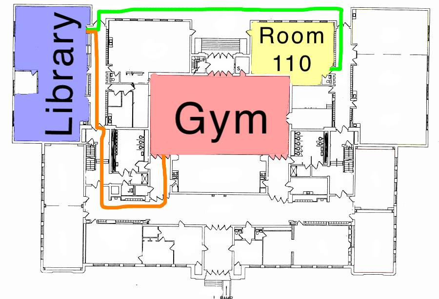 Final annotated map with routes and specific rooms highlighted and labeled.