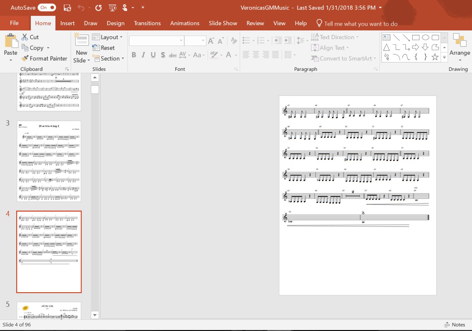 A computer screen showing sheet music in PowerPoint.