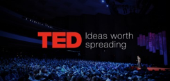 "Ted Talk podcast logo; ""TED Ideas worth spreading"""