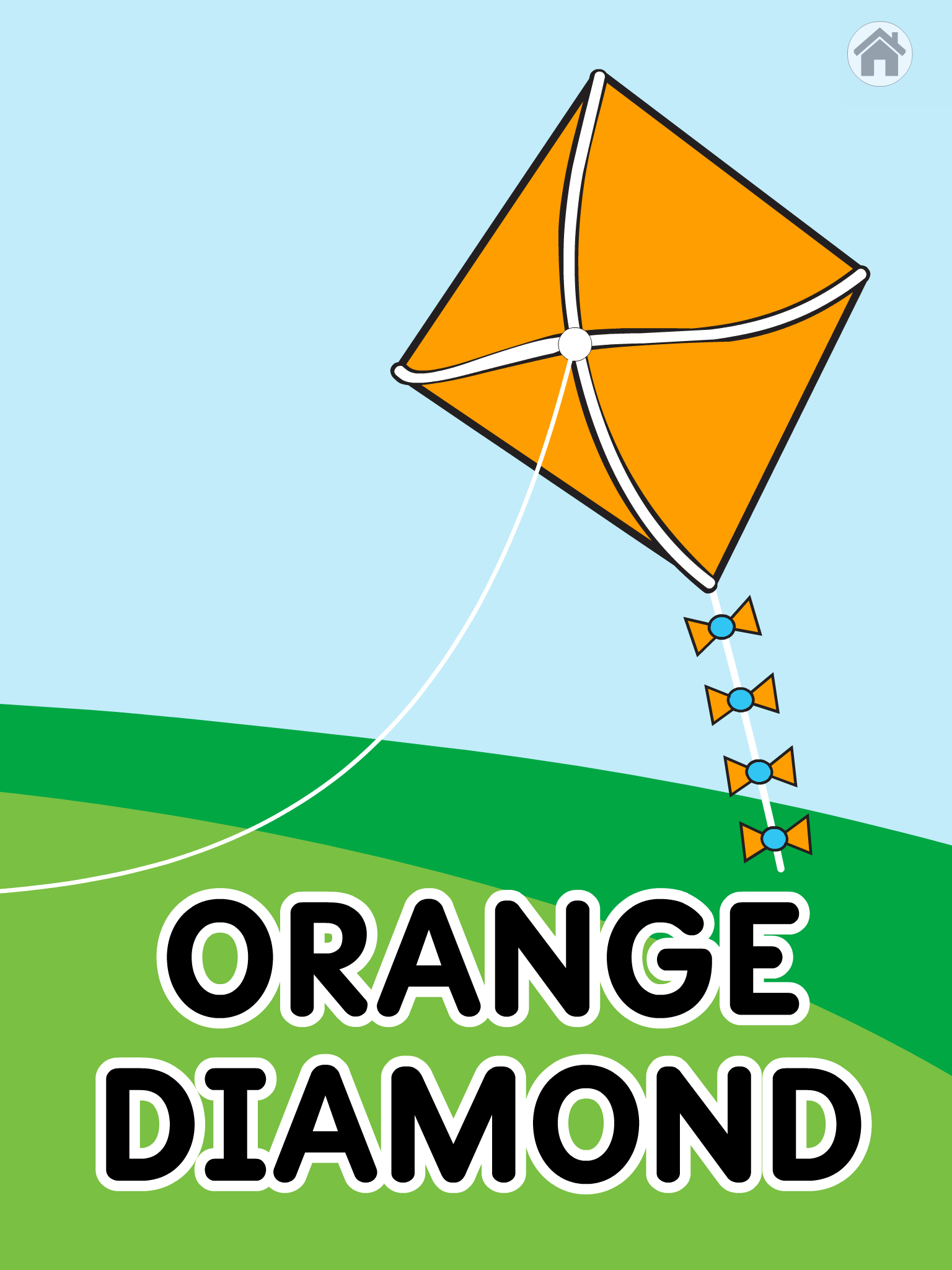 "Screenshot of the color and shape game with a gold kit and the words, ""orange"" and ""Diamond"""