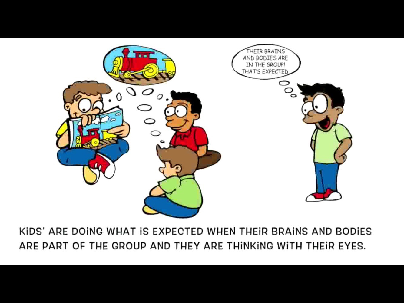 Screenshot of 3 cartoon children looking at a book with guy standing off with speech bubble explaining social expectations of this setting.