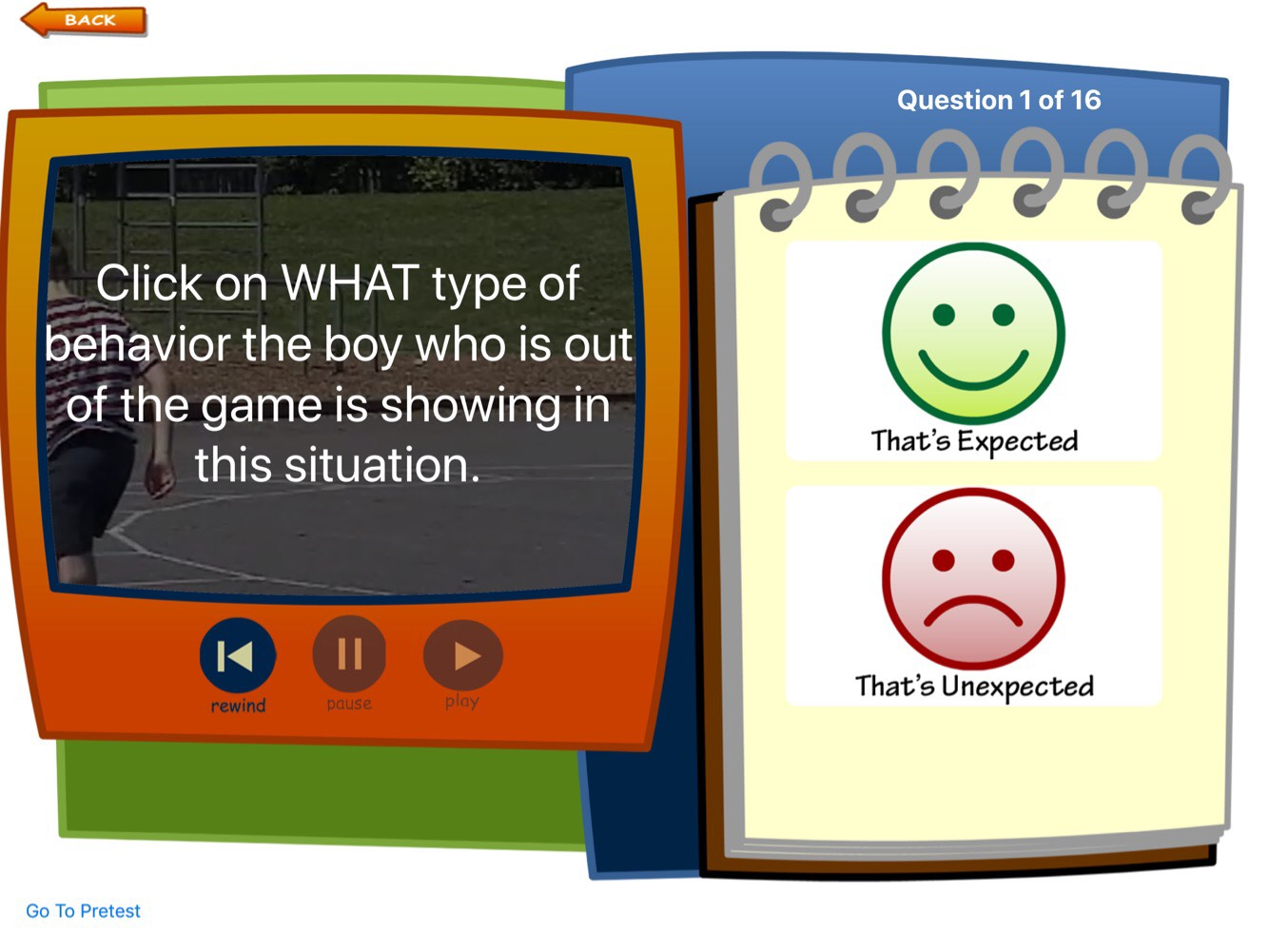 "Screenshot showing video children on outdoor basketball court; text, with text question about boy's behavior and choice of ""That's expected"" or ""That's Unexpected"""