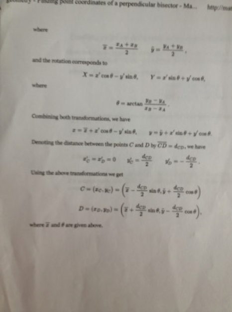 Photo: full page of typed trig equations used to solve the problem of how to rotate a square.