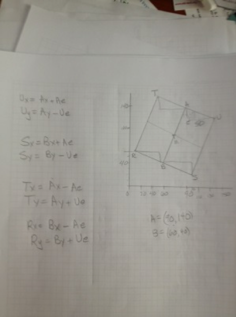 photo of grid paper with handwritten equations and Cartesian plane with rotated square.
