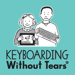 Keyboarding without Tears logo: a smiling girl holding a tablet and a smiling boy holding a keyboard.
