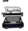 Keystroke logo: old fashioned manual typewriter with paper inserted with the text, 'keystroke'.