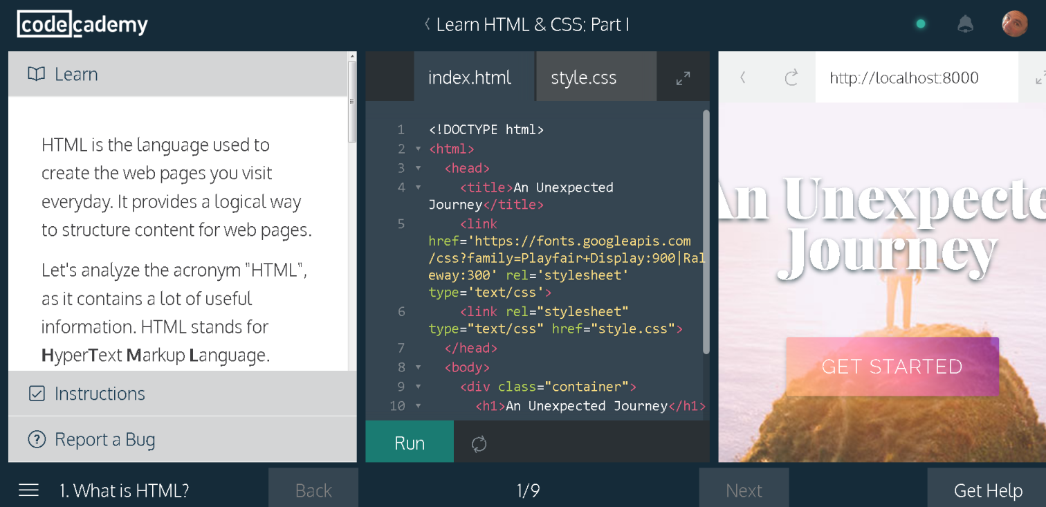 Codecademy website at 200% zoom
