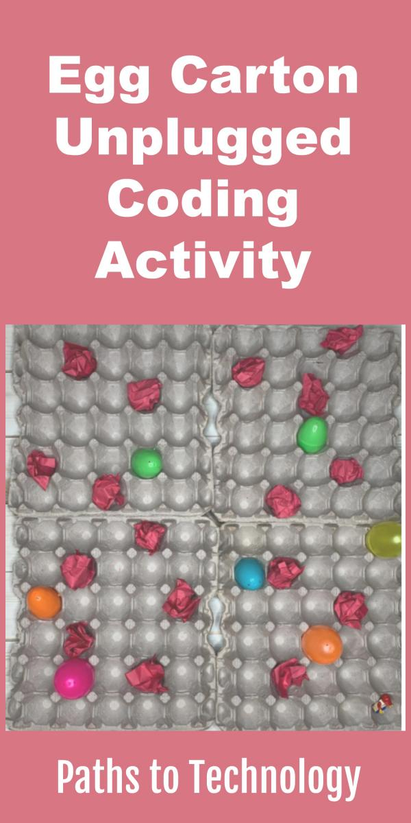 Collage of egg carton unplugged coding activity