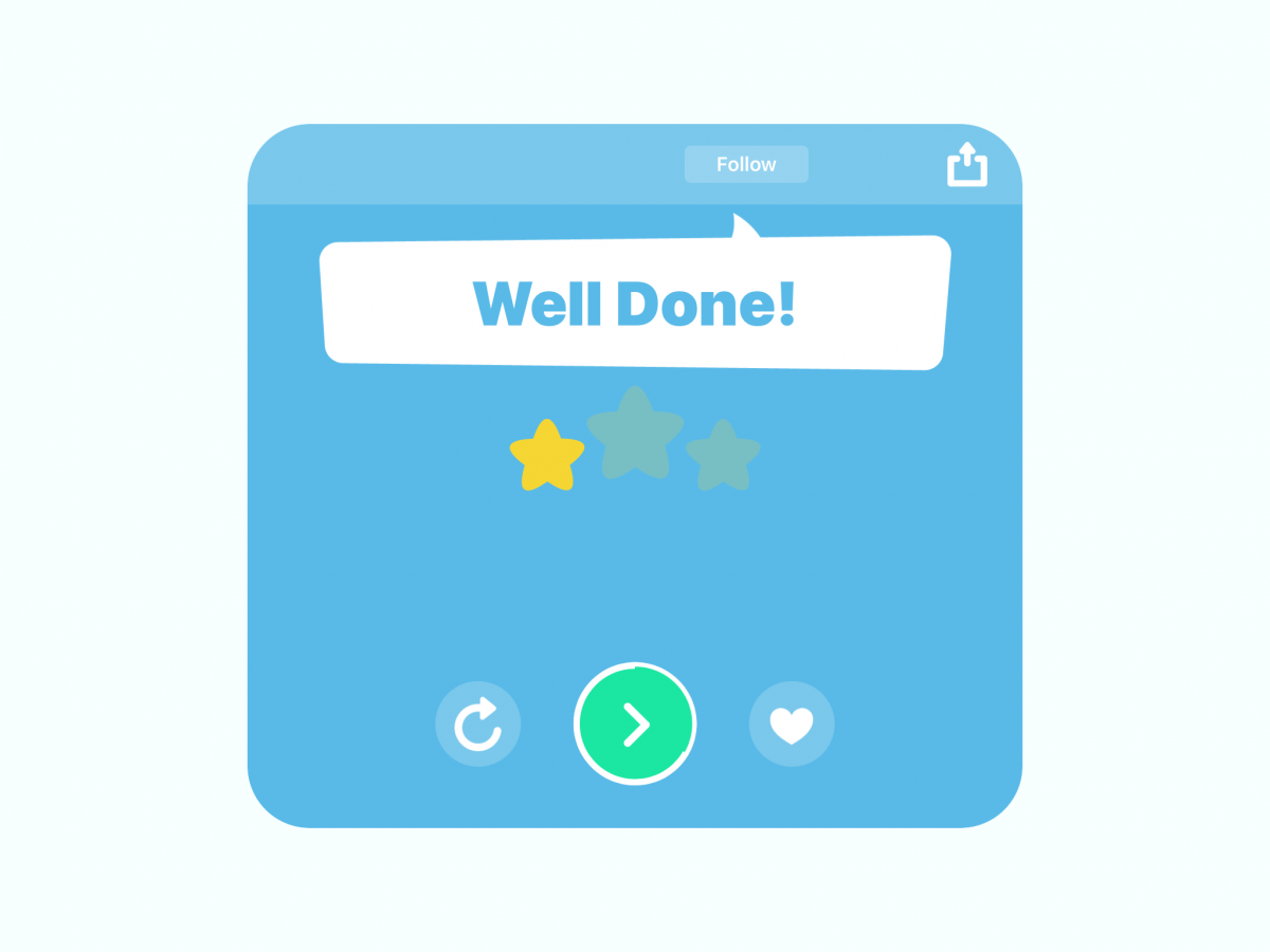 Screenshot of TinyTap app's Well Done page with the download button in the upper right corner.