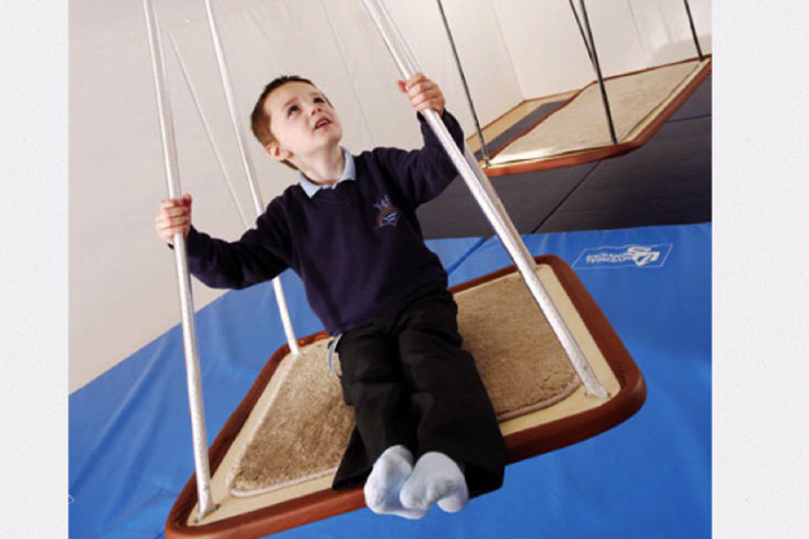 Picture of a little boy on a platform swing.