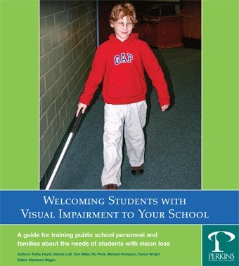 Visually impaired student walking with his cane