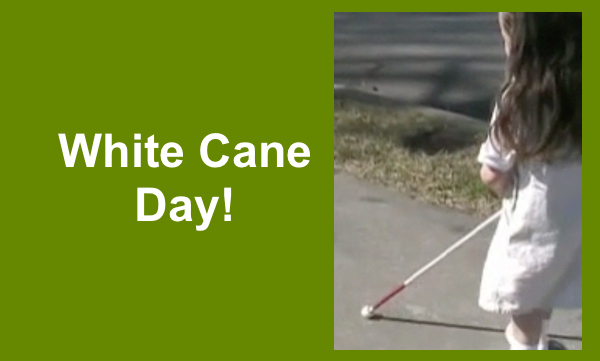 """Kindergarten student walking on a sidewalk using a white cane and text, """"White Cane Day!"""""""