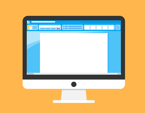 A yellow background with a black and white computer in the middle. There is a blank white Microsoft Word Document open on the co